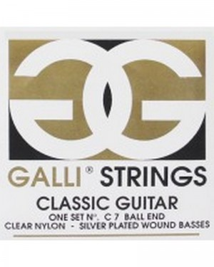 GALLI STRINGS CLASSICAL GUITARS ONE SET C007 BALL END CLEAR NYLON SILVER PLATED WOUND BASSES