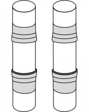 """PA K054 Set 2 tubi montaggio colonne 165-200 su sub """"Top"""", con anelli di centraggio e gomma adesiva"""