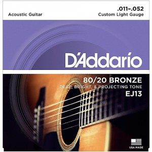 DADDARIO 011-052 CUSTOM LIGHT GAUGE BRONZE EJ-13 ACOUSTIC GUITAR